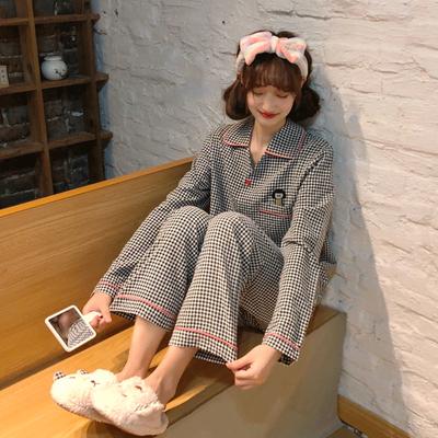 睡衣女春夏新款长短袖宽松可爱格子家居服套装两件套棉质可外穿