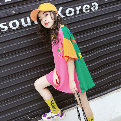女童中长款T恤短袖2020夏装新品儿童韩版洋气宽松上衣小学生衣服