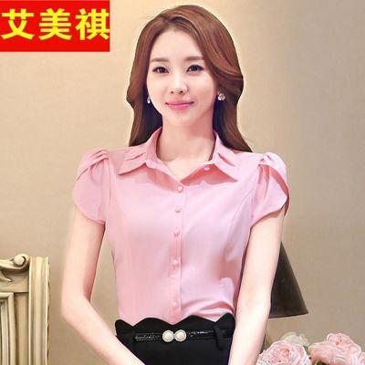 职业装短袖衬衫女2020夏装韩版粉色上衣正装时尚修身气质工作服ol