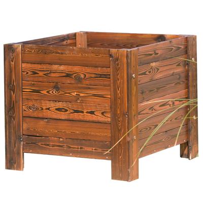 栽花种树碳化实木大花盆花箱正方形特大号花槽木质花槽阳台户外