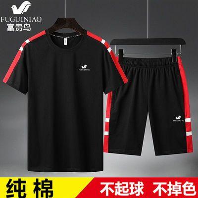 富贵鸟运动套装男纯棉大码男装夏季薄款短袖短裤休闲潮流一套衣服