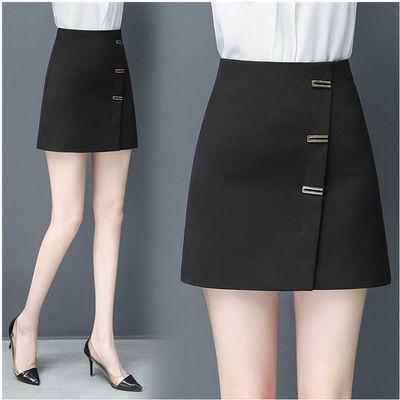半身裙女2020春夏新款高腰显瘦百搭防走光学生短裙A字裙黑包臀裙