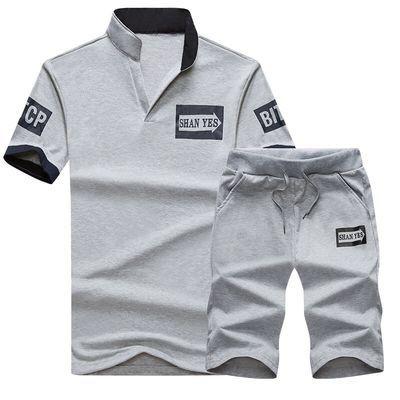 男装套装夏季立领短袖短裤青少年学生衣服男孩休闲运动服夏装一套
