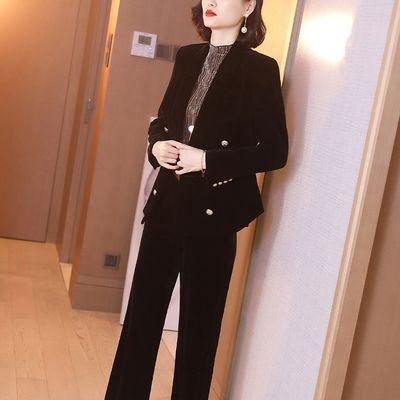 黑色金丝绒西装外套女装2020新款百搭双排扣修身长袖开衫上衣