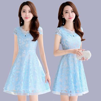 2020春夏蕾丝雪纺连衣裙女新款韩版气质修身显瘦短袖a字裙短裙子