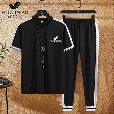 【富贵鸟】夏季男装运动休闲套装男短袖T恤韩版潮流修身一套衣服
