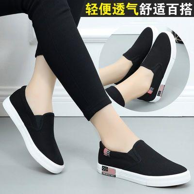 一脚蹬帆布鞋女平底套脚懒人鞋透气单鞋老北京休闲鞋女鞋黑色板鞋