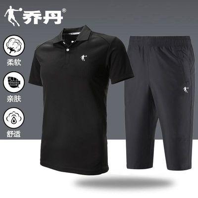 乔丹运动套装男短袖t恤夏季跑步健身服男士休闲运动七分裤运动服