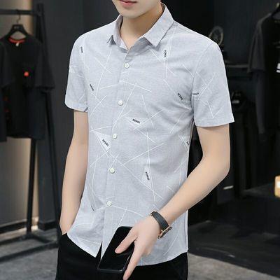 短袖衬衫男士夏季修身帅气青年商务休闲寸衫薄款夏装韩版潮流衬衣