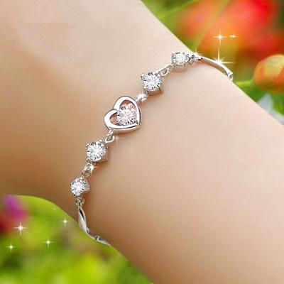 送红绳】S925纯银欧美时尚紫水晶手链女学生甜蜜心形白钻手链礼物