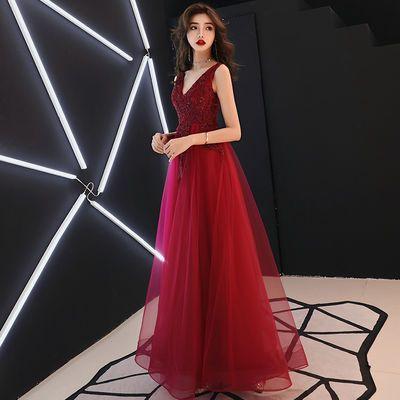 敬酒服新娘2020新款酒红色订婚衣服结婚晚礼服性感V领大气显瘦女