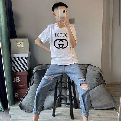夏季韩版宽松精神社会快手网红同款短袖T恤男学生男女情侣上衣潮