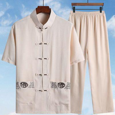 唐装男短袖套装夏季中老年休闲上衣男装爸爸装爷爷老年宽松晨练服