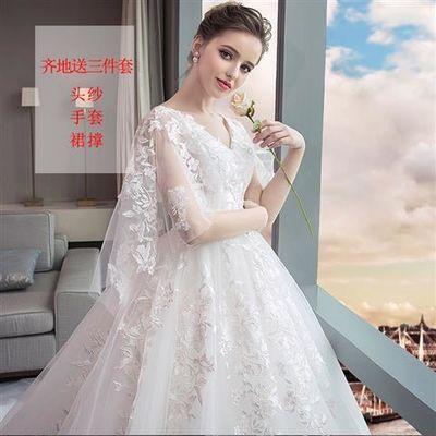 婚纱2020新款新娘礼服大码显瘦拖尾公主梦幻孕妇200斤胖mm遮孕肚