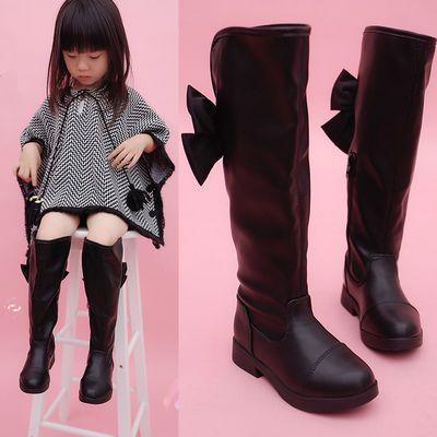 儿童靴子秋冬韩版2019女中大童单靴黑色过膝公主高筒皮靴子长靴