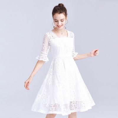 新款气质仙女裙【送打底裤】白色蕾丝裙名媛长款蕾丝连衣裙中长款