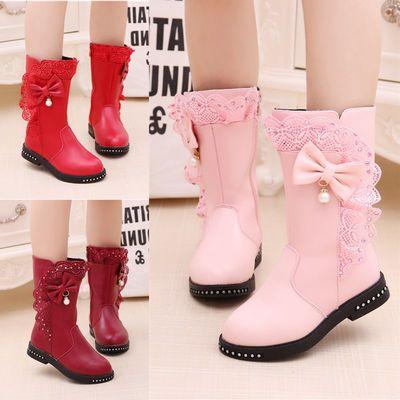 女童靴子秋冬2020新款韩版儿童皮靴公主长靴中大童防滑加绒高筒靴