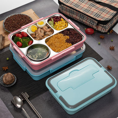 5格304不锈钢保温饭盒成人上班族分格饭盒学生便当盒双层防烫餐盒