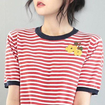 2020夏季新款经典复古条纹体恤纯棉短袖女韩版宽松针织打底衫上衣
