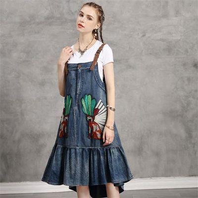 小清新俏皮宽松不规则重工刺绣牛仔背带连衣裙2020夏季新款牛仔裙