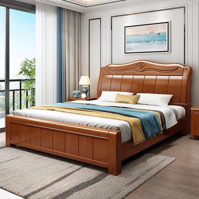 中式实木床头1.8米双人床高箱储物1.5米单人床现代简约小户型家具