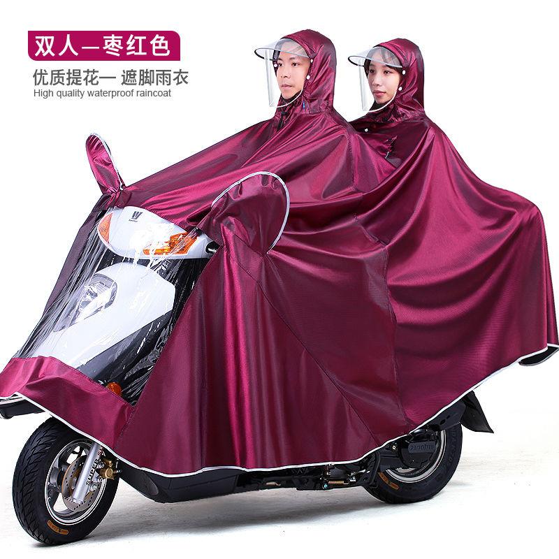 88611-加厚母子雨衣电动车摩托车雨披电瓶车双人加大加长三人骑行防暴雨-详情图