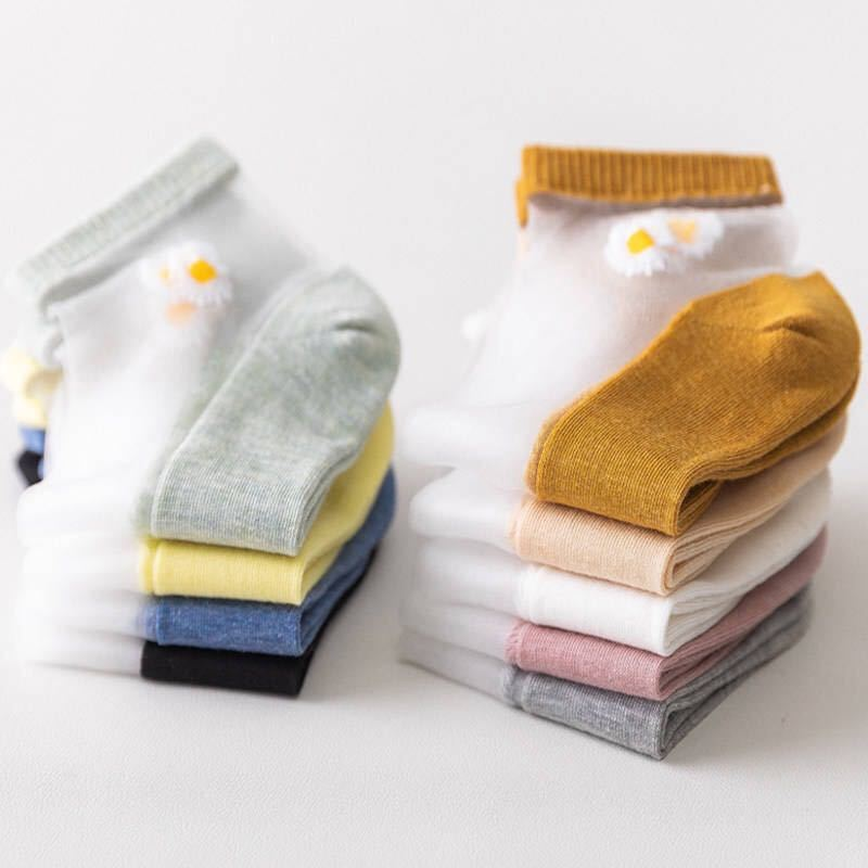 便宜的袜子女夏季薄款小雏菊卡丝袜船袜女士ins韩版短袜中筒防臭学生袜