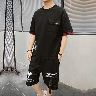 【爆款月销3000+】夏季短裤短袖T恤休闲运动套装工装学生两件