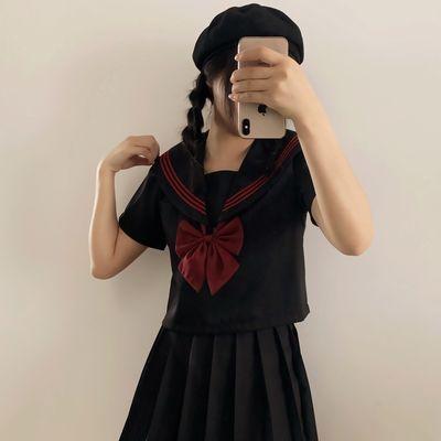 正统原创基础款JK制服裙黑赤三本水手服日系长袖短袖学生套装JKS