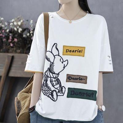 2020新款短袖T恤韩索依文艺夏季新款绣花圆领毛圈棉女款短袖t恤