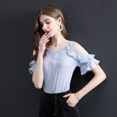 时然2020年夏新品女款气质百搭甜美荷叶边衬衣网纱拼接荷叶袖衬衫