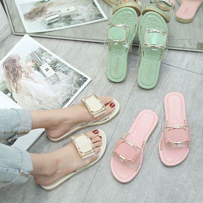 网红水晶方扣一脚蹬懒人果冻凉拖鞋沙滩外穿韩版学生平底一字型