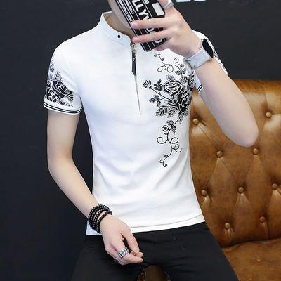 新款修身半截韩版半截袖t恤日单t恤夏季短袖衣服男士polo衫潮流