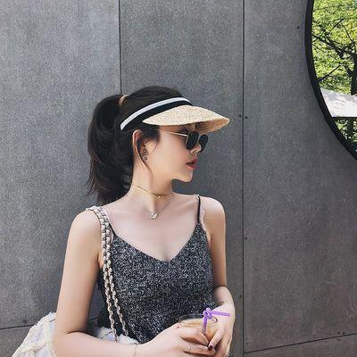 拉菲草空顶帽网红同款草帽女沙滩度假防晒鸭舌帽遮阳帽韩版太阳帽