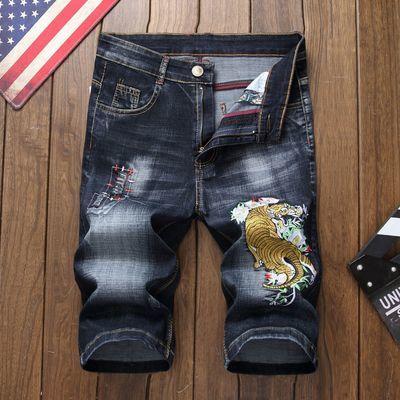 外贸新款休闲破洞牛仔短裤男夏季刺绣贴布修身五分裤薄款男士中裤