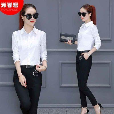 纯棉新款长短袖白色衬衫女韩版宽松工作服上衣职业装打底衫衬衣