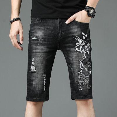 夏季新款牛仔短裤韩版男式小直筒青年男裤大码五分刺绣龙黑色中裤