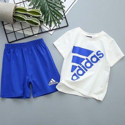 夏季爆款中小童经典两件套男女宝宝纯棉短袖T恤短裤运动休闲透气