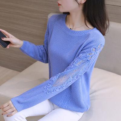 蕾丝镂空打底衫毛衣女2020春季新款宽松长袖针织衫上衣圆领毛线衣