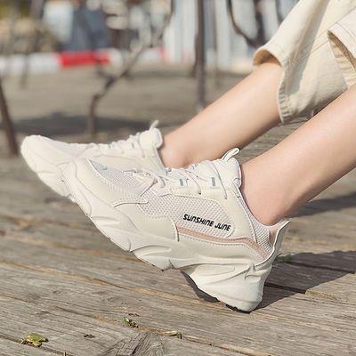 网面透气运动鞋女夏季2020新款休闲增高小白鞋轻便软底学生跑步鞋