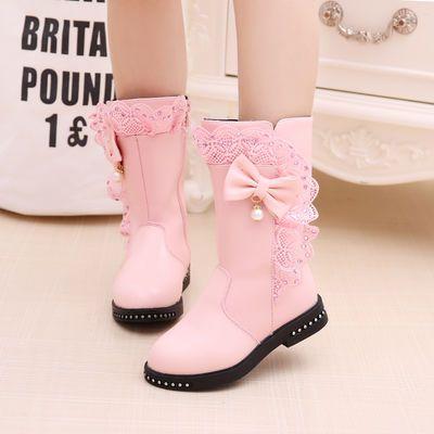 女童靴子2019秋冬新款儿童高筒靴中大童蕾丝单靴靴加绒棉靴