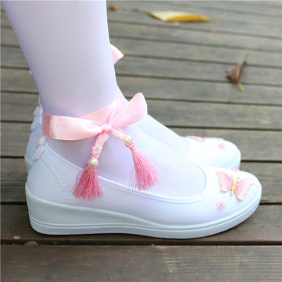 帆布鞋子子女搭配汉服鞋汉服鞋女平底风汉刺绣舞蹈古风白色坡跟