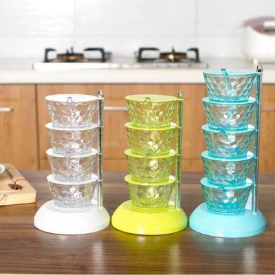 【抖音同款】立式水晶调料盒简约家用旋转式厨房调味收纳盒多层