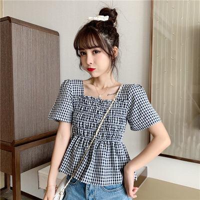夏季学院风格子衬衫女泡泡袖方领修身遮肚子减龄韩版甜美收腰小衫