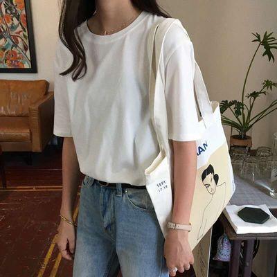 爆款夏装纯棉纯色打底衫圆领休闲短袖T恤显瘦简约经典百搭清新女
