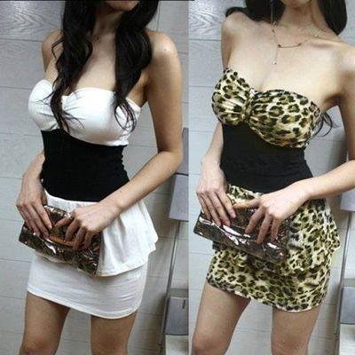2020夏季新款性感夜店修身收腰女装超短裙豹纹低胸抹胸裹胸连衣裙