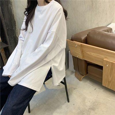 2020新款春秋白色长袖t恤女学生韩版宽松打底衫上衣服情侣装ins潮