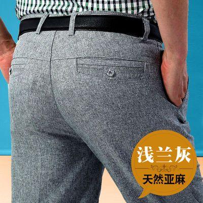 新款中老年亚麻裤夏季薄款中年男士休闲裤爸爸长裤高腰宽松西裤男