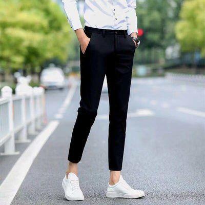 新款夏季薄款韩版潮流弹力修身小脚西裤子男士九分休闲裤男生西装