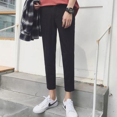 韩版男生裤子小西裤原宿风简约百搭小脚九分裤垂感免烫休闲西装裤